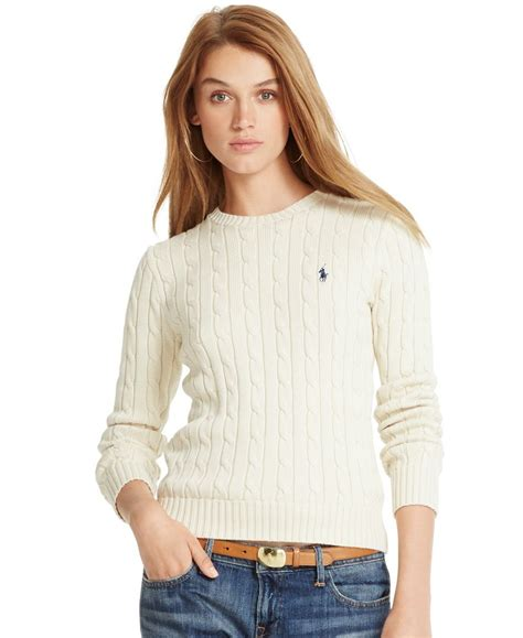 womens ralph cable knit sweater polo ralph cable knit crew neck sweater polo