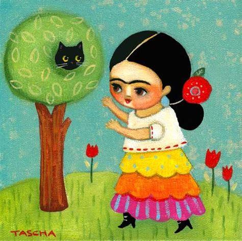 cat painting viva frida kahlo rescues cat from tree print from original cat folk