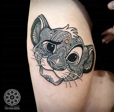 mosaic simba girls thigh tattoo best tattoo ideas amp designs