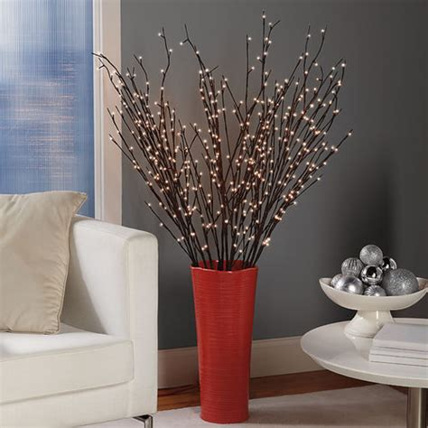 lit willow branches battery powered pre lit willow branches at brookstone buy now