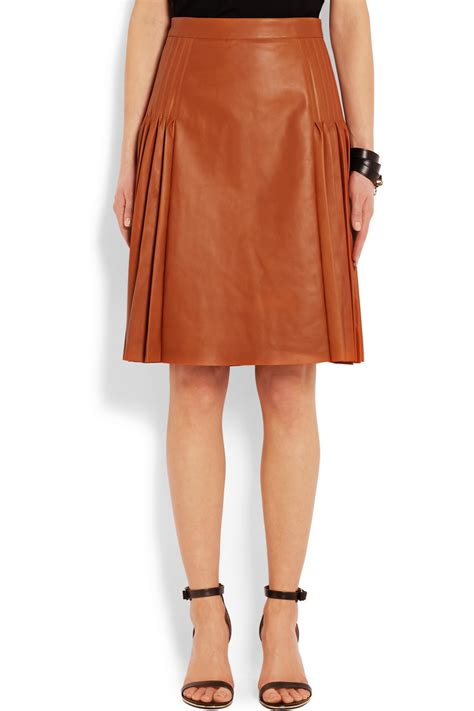 leather pleated skirt givenchy pleated leather skirt in brown lyst