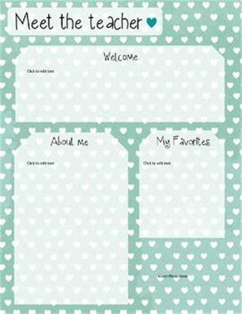 mint heart meet the teacher template editable