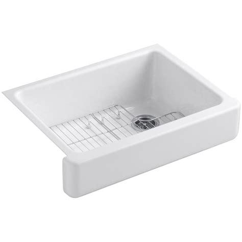 kitchen sink basin racks kohler whitehaven undermount farmhouse apron front cast