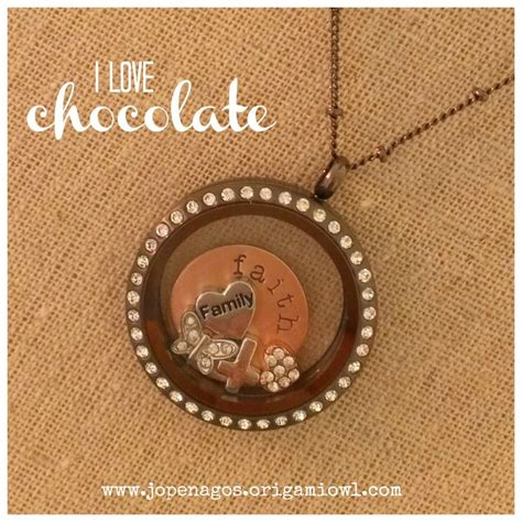 Origami Owl Large Chocolate Locket With Crystals On A