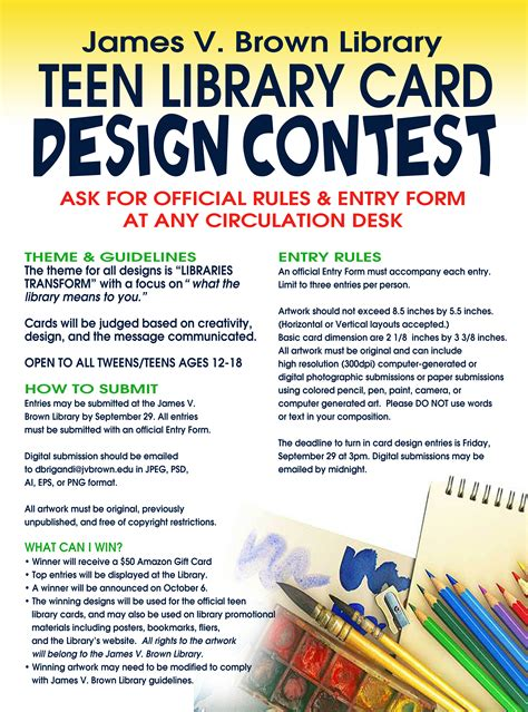 card contest library card design contest v brown library