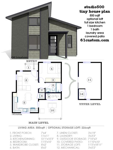 tiny house plans studio500 modern tiny house plan 61custom