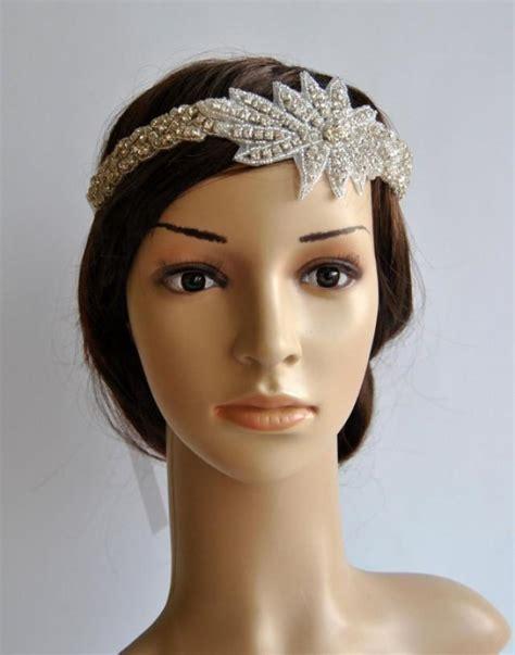 beaded headpiece rhinestone 1920s headpiece flapper headpiece 1920s and