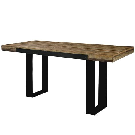 Pub Dining Table Industrial Pub Table Reclaimed Wood Top Metal Base Bar