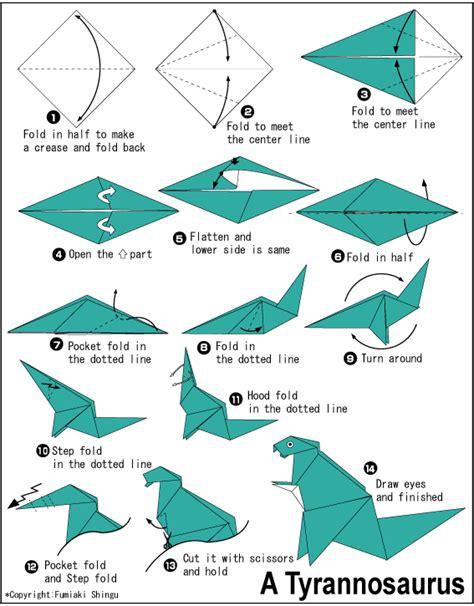 origami easy dinosaur origami tyrannosaurus free origami patterns