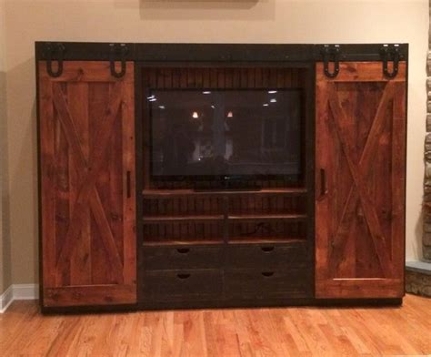 entertainment cabinet with barn doors rustic