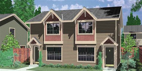 house plans for small lots craftsman style duplex with boxed windows compact floor plan