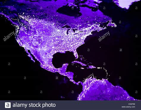 america lights satellite image of lights of and central