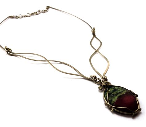 how to make rock jewelry with wire wire wrapped necklace with ruby zoisite by