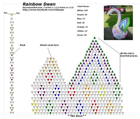 3d origami pattern rainbow swan diagram the same diagram can be used with