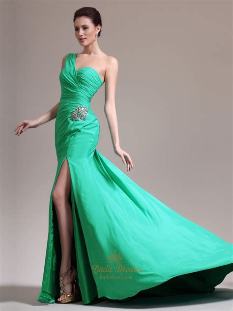 green beaded dress green sheath one shoulder chiffon prom dress with beaded