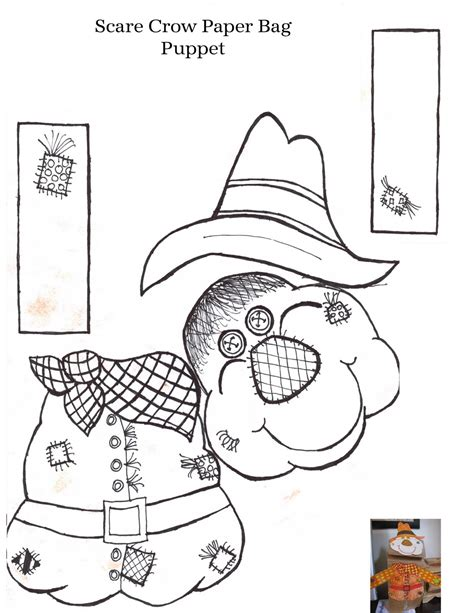 paper bag scarecrow craft for preschoolers free puppet templates coloring pages