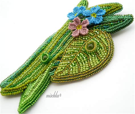 bead embroidery flowers bead embroidery forget me not flowers brooch