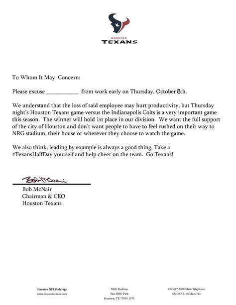 texans excuse note to leave work early for thursday night