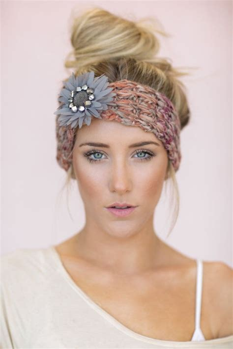 how to knit hair band gray boho knitted headband hair bands knit by