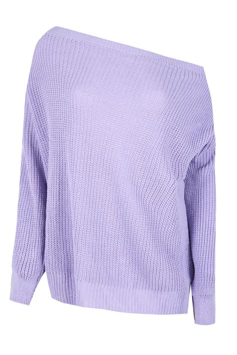 wow knit inc womens the shoulder chunky knit jumper