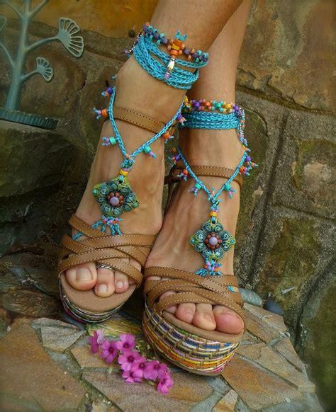 bohemian beaded sandals blue hippie summer barefoot sandals crochet sandals beaded