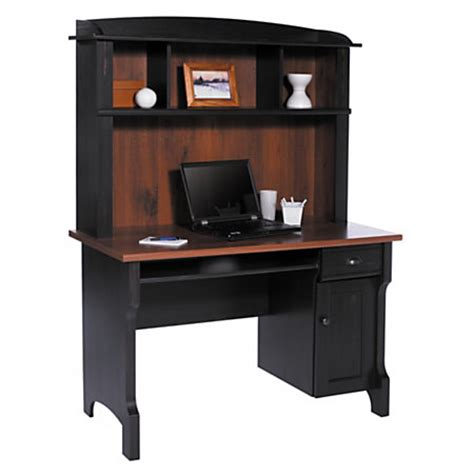 black computer desk with hutch realspace shore mini solutions computer desk with hutch