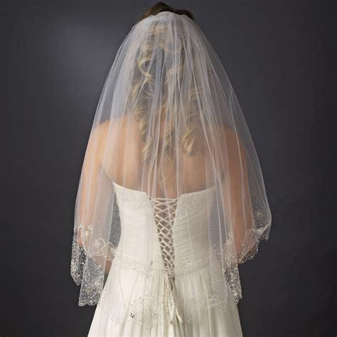 beaded veil bridal wedding layer fingertip length beaded