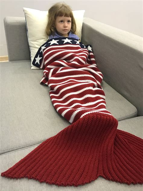 knitted bed throw pattern soft knitted american flag pattern throw bed mermaid