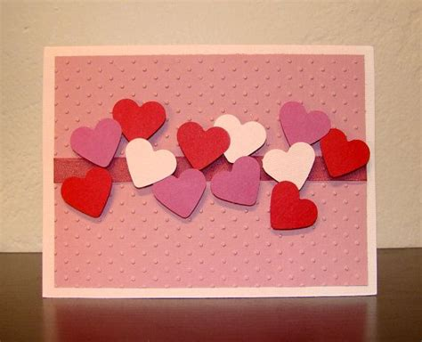 easy to make valentines cards handmade card raised pink hearts blank