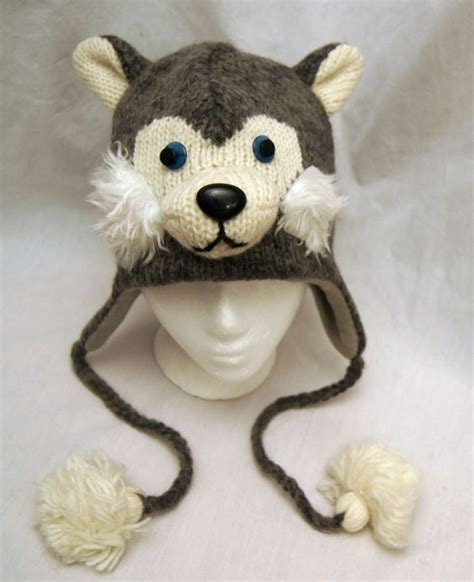 knitted animal hats siberian husky hat huskies knit lined delux