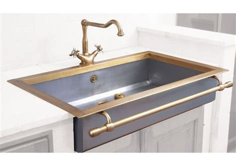 kitchen towel rack sink apron front sink with towel bar in satin stainless steel