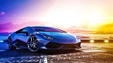 Car Wallpaper Image by Blue Sports Car Lamborghini Huracan Lp 610 4 On Background