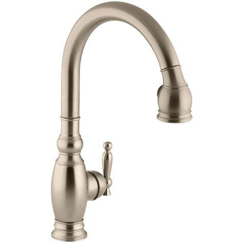brushed bronze kitchen faucets kohler vinnata single handle pull sprayer kitchen faucet in vibrant brushed bronze k 690 bv