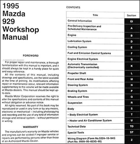 how to download repair manuals 1995 mazda 929 electronic valve timing 1995 mazda 929 repair shop manual original