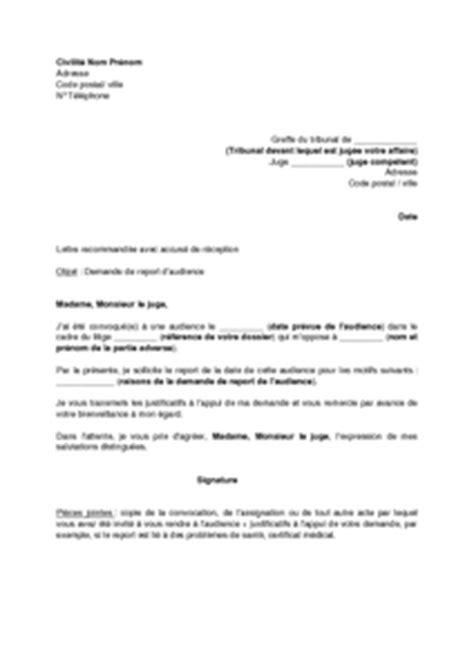 Modification Jugement Jaf by Exemple Gratuit De Lettre Demande Report Audience Juge