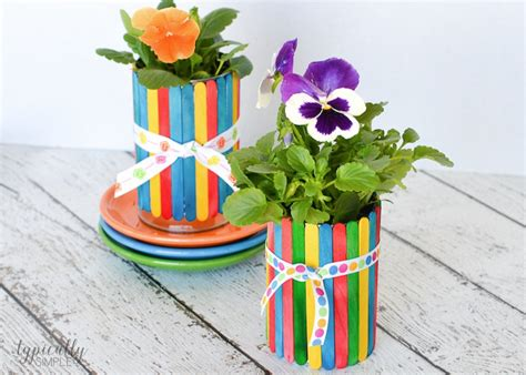 flower pot kid craft craft stick flower pots typically simple