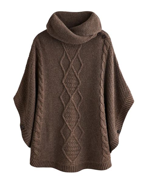 knitted ponchos joules womens knitted cape brown marl combat the cold