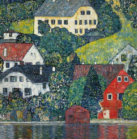houses at unterach on the attersee painting by gustav klimt