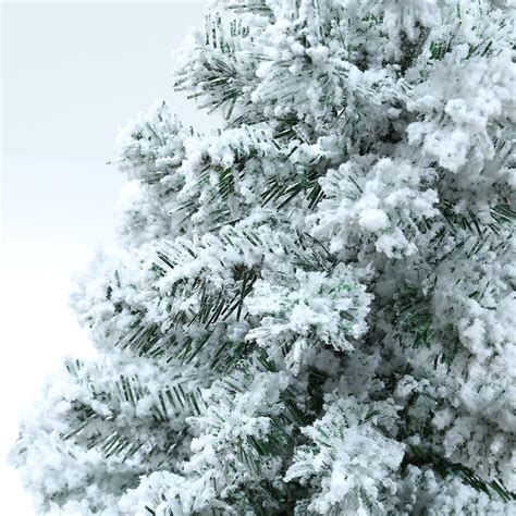 snow flocked tree flocked pine tree 8ft pre lit 100 lights