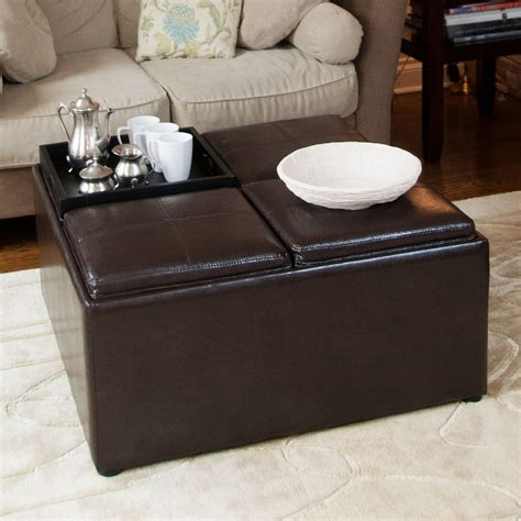 coffee table with storage ottomans square leather coffee table with storage with