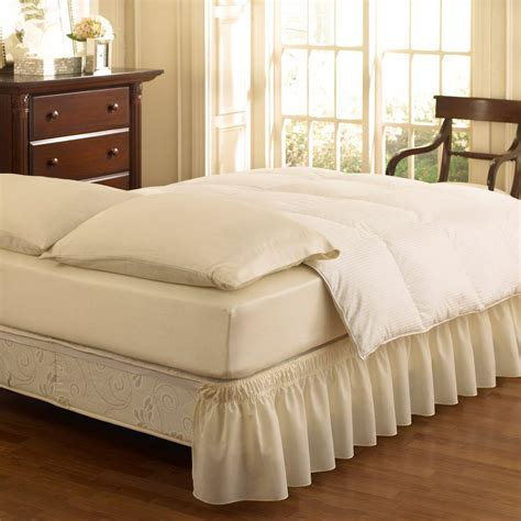 bed skirts ruffled wrap around white bedskirt 11577queen kingwh