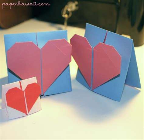 origami cards to make origami valentines day card tutorial paper kawaii