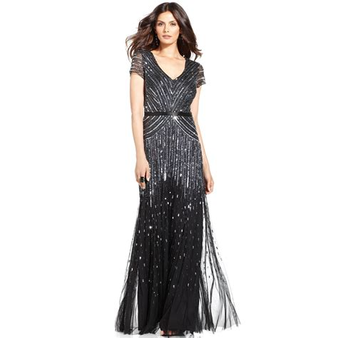 Papell Cap Sleeve Beaded Sequined Gown In