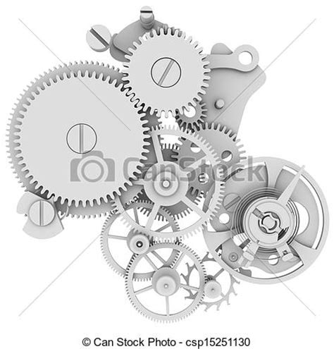 drawings of clock mechanism isolated render on a white