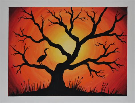 Acrylic Silhouette Painting On Canvas Quot Cranes Sunset