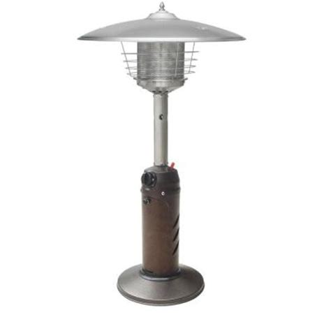 tabletop patio heaters gardensun 11 000 btu powder coated bronze tabletop propane patio heater hps c pc the home depot
