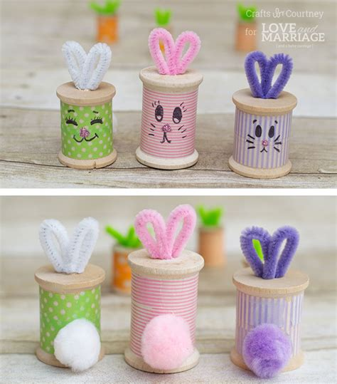 craft thread projects easter bunny craft thread spool bunnies