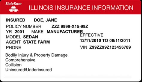 make insurance card illinois auto insurance card 187 ibrizz