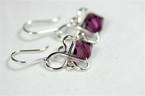 earrings with wire amethyst earrings wire wrapped jewelry handmade sterling