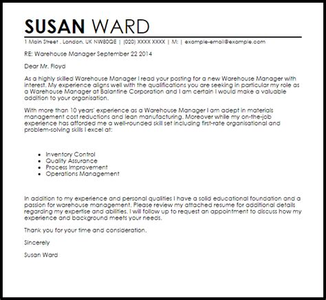 warehouse manager cover letter sample livecareer